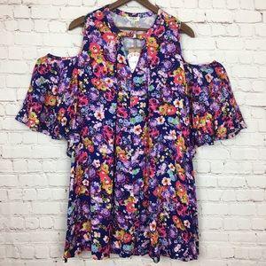 Umgee Floral Cold Shoulder Dress Large